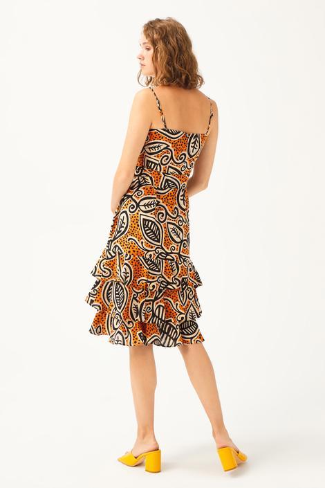 Camel Askılı Eteği Volanlı Elbise