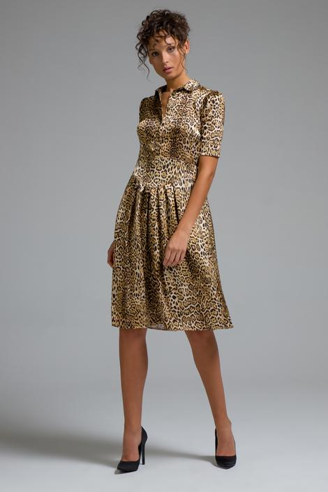 Leopar Gömlek Elbise