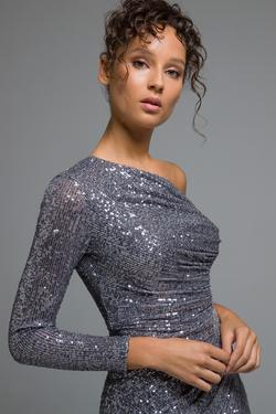 Tek Omuzu Payet Elbise