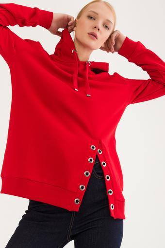 Kırmızı Kuş Gözlü Sweatshirt