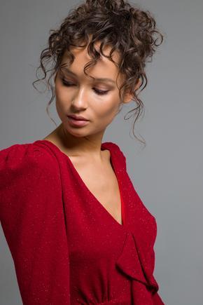 Kırmızı Volanlı  Elbise