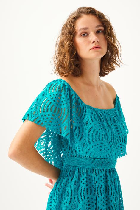 Mavi Dantel Elbise