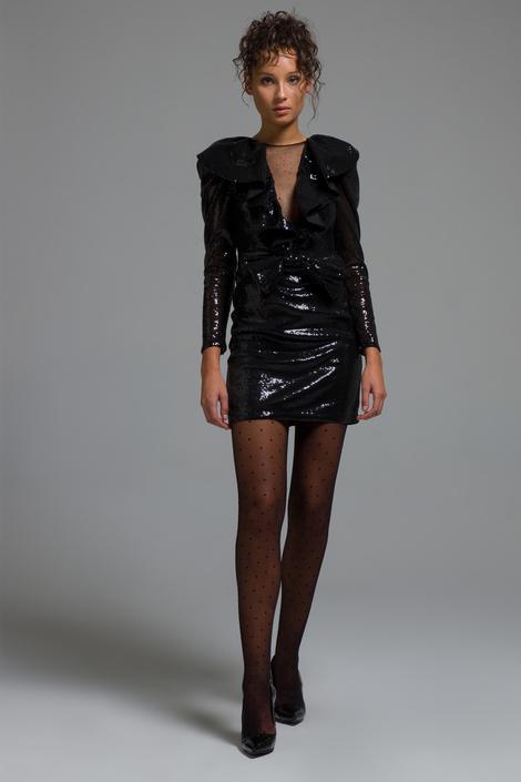 Siyah Yakası Fırfırlı  Elbise
