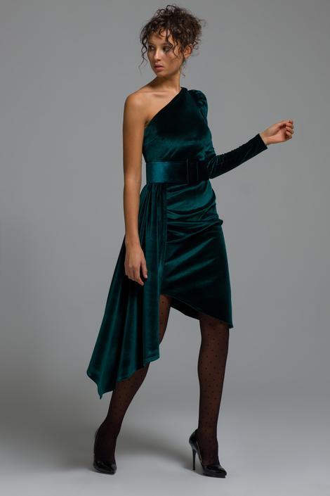 Yeşil Tek Omuz Kadife Elbise