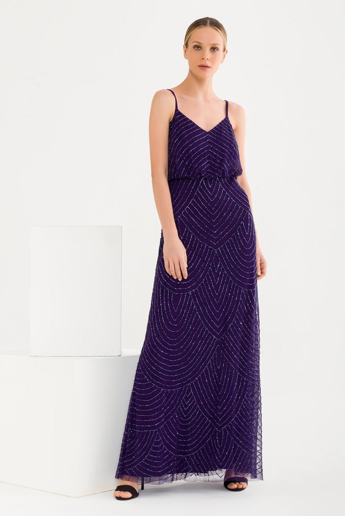 Mor Boncuklu Uzun Elbise