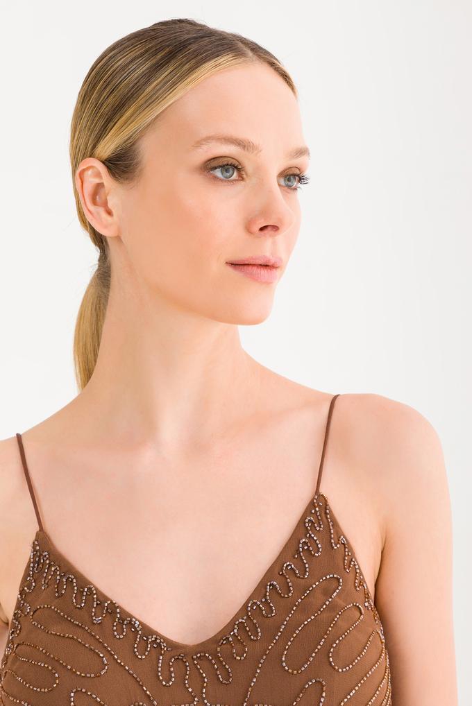 Kahverengi Askılı Elbise