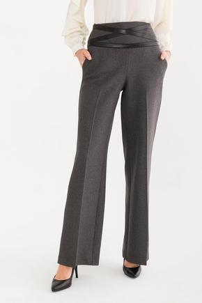 Gri Deri Şeritli  Pantolon