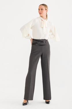 Deri Şeritli  Pantolon