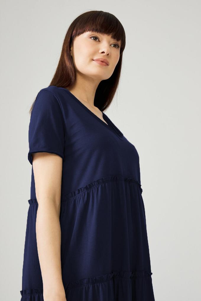 Lacivert V Yaka Elbise