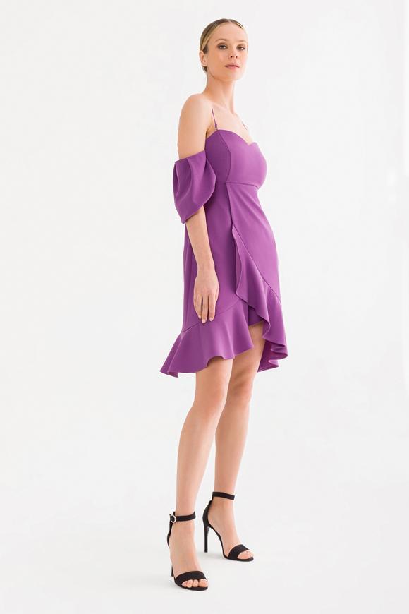 Mor Volanlı Elbise