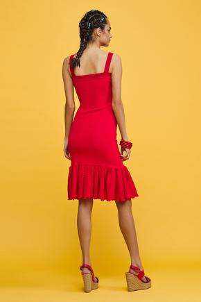 Kırmızı Askılı Elbise