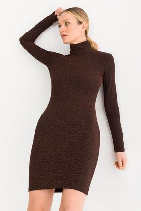 Kahverengi Balıkçı Yaka Elbise