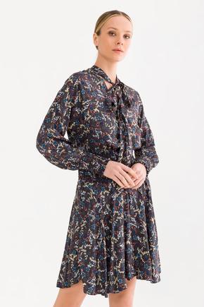 Gri Yakası Bağcıklı  Elbise