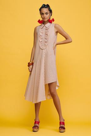 Turuncu Sıfır Kol Elbise