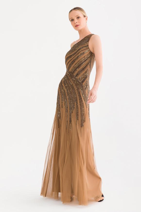 Kahverengi Boncuklu Elbise