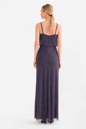 Gri Boncuklu Uzun Elbise