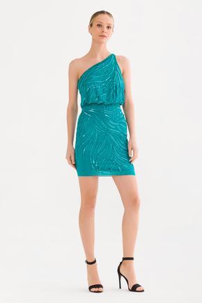 Mavi Tek Omuz Elbise