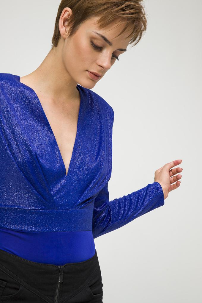 Mavi Önü Pileli V Yaka Örme Body Bluz
