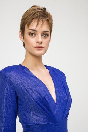 Mavi Önü Pilili Bluz