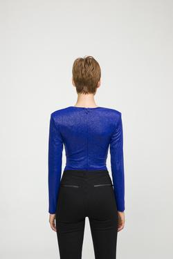 Önü Pileli V Yaka Örme Body Bluz