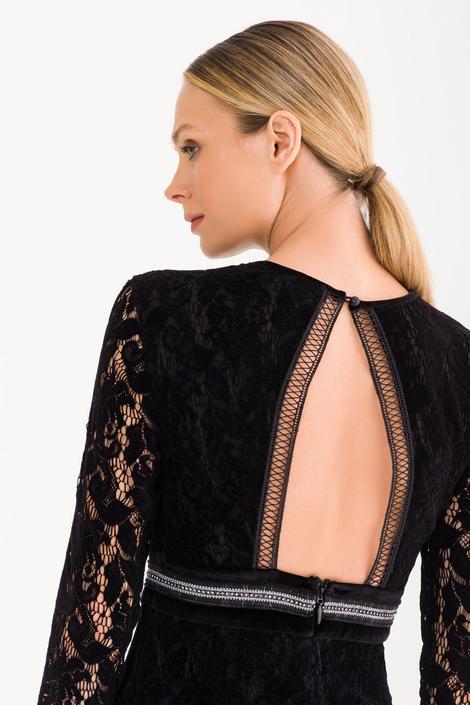 Siyah Uzun Kollu Dantel Elbise