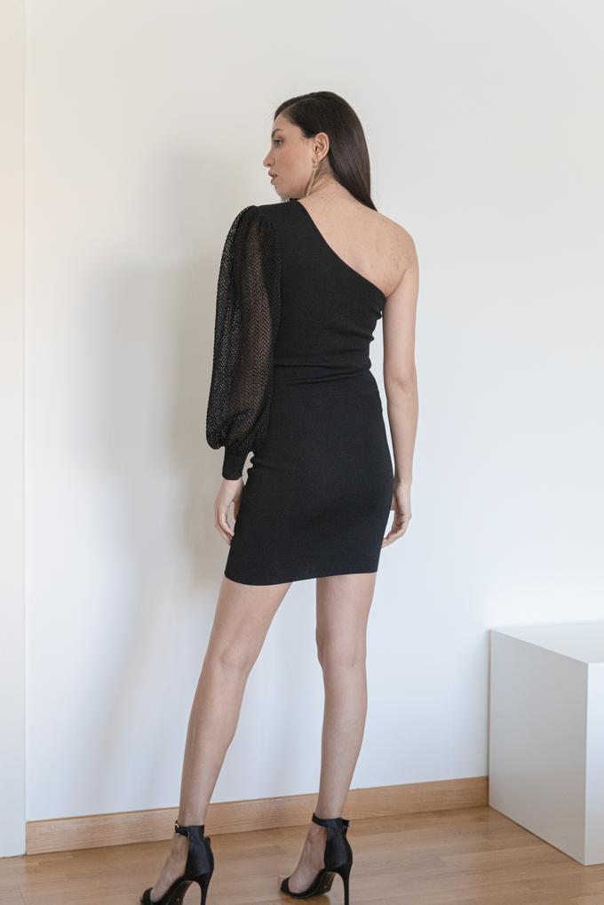 Siyah Tek Omuz Elbise