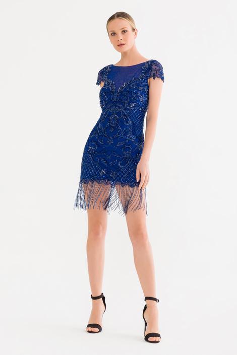 Mavi Boncuklu Elbise
