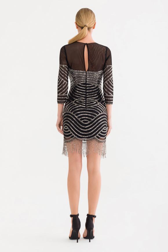 Siyah Boncuk İşlemeli Elbise