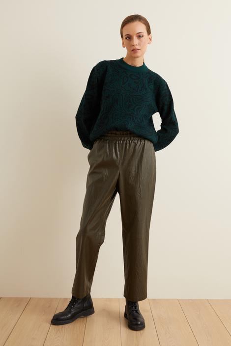 Yeşil Beli Lastikli Bol Deri Pantolon