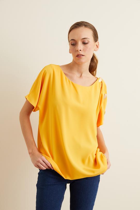 Sarı Tek Omuzu Düğmeli Bluz