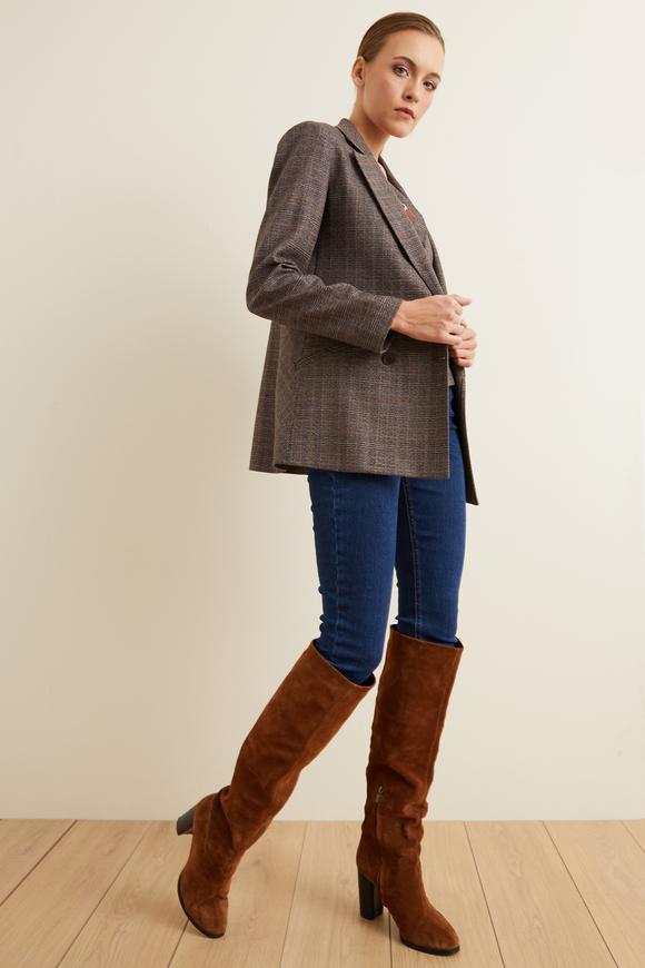 Kahverengi Yakası Nakışlı Kruvaze Ceket