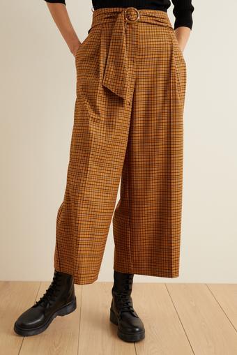 Beli Kuşaklı Bol Ekose Pantolon