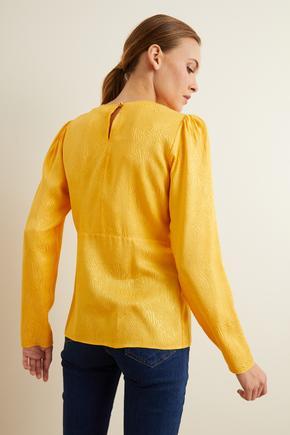 Sarı Jakarlı Uzun Kol Bluz