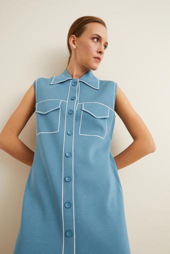 Mavi Dikiş Detaylı Triko Elbise