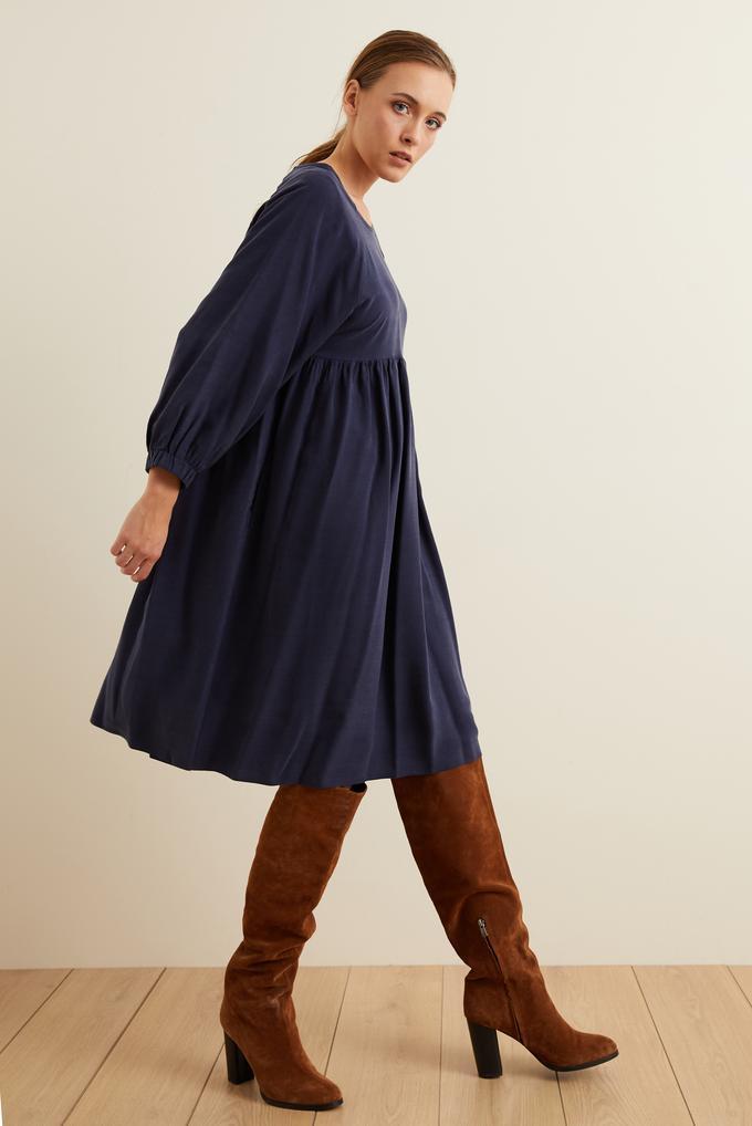 Lacivert Kolları Lastikli Büzgülü Elbise