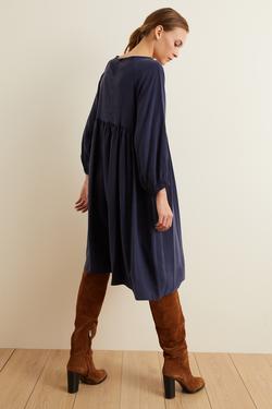 Kolları Lastikli Büzgülü Elbise