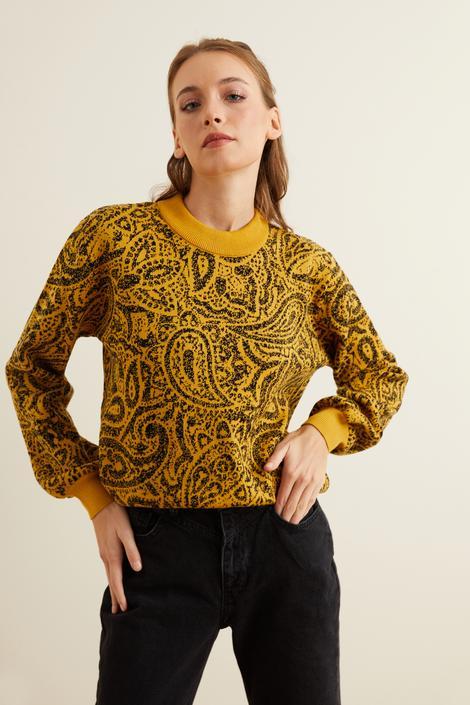 Sarı Şal Desenli Triko Kazak