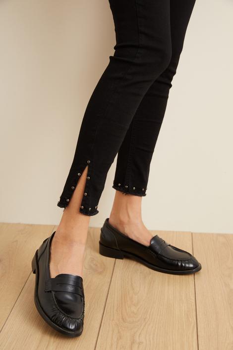 Siyah Paçası Troklu Jean Pantolon