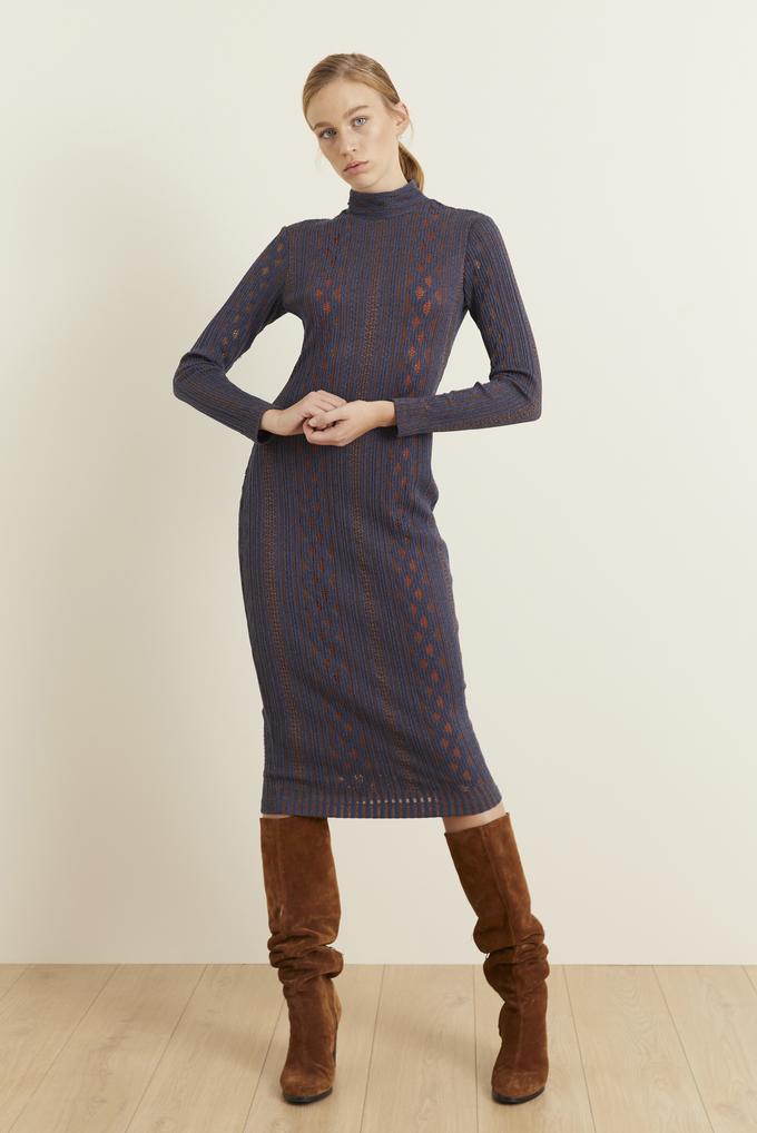 Lacivert Örme Uzun Kol Dar Elbise