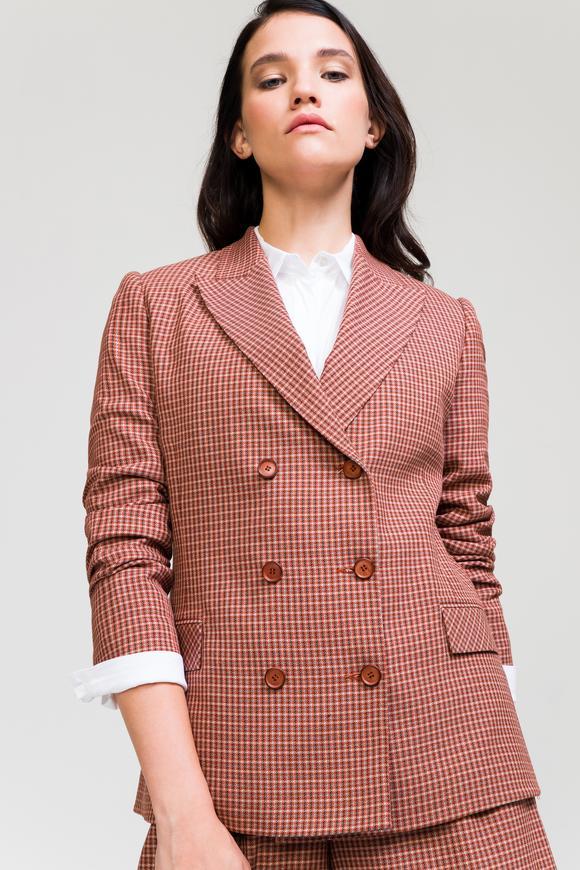 Kahverengi Kruvaze Desenli Ceket