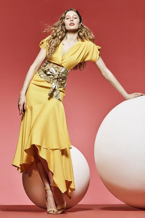 Sarı Kruvaze Elbise