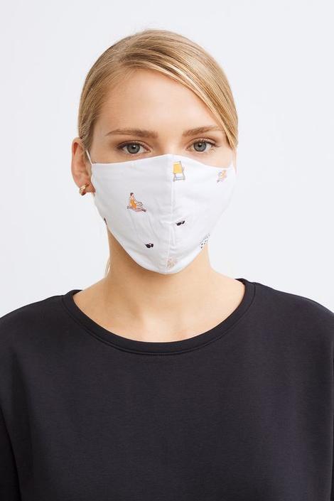 Kemik/Lacivert 2 li Desenli Maske