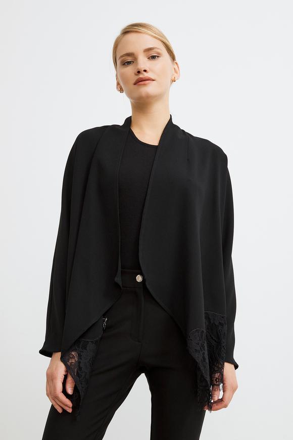 Siyah Şal Yaka Dantelli Ceket