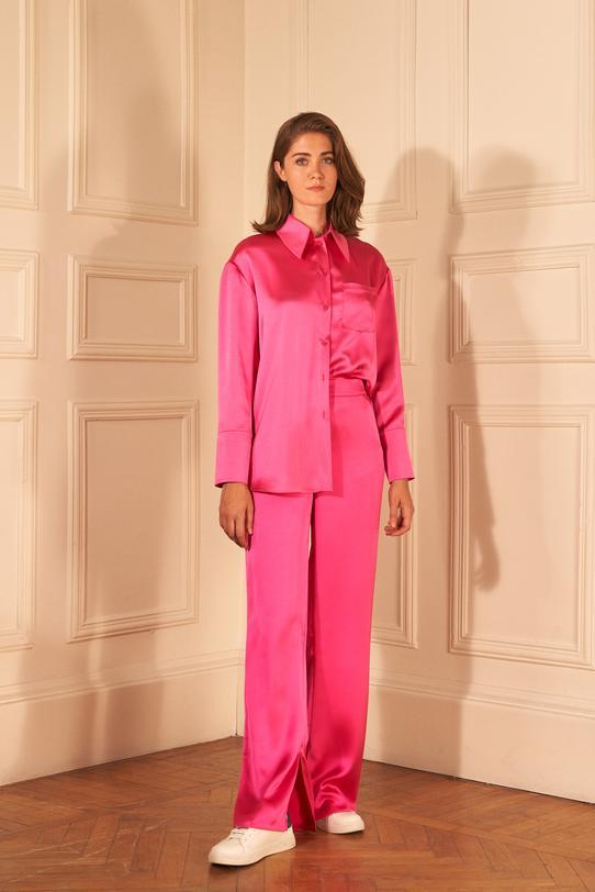 Pembe Paçası Yırtmaçlı Pijama Pantolon
