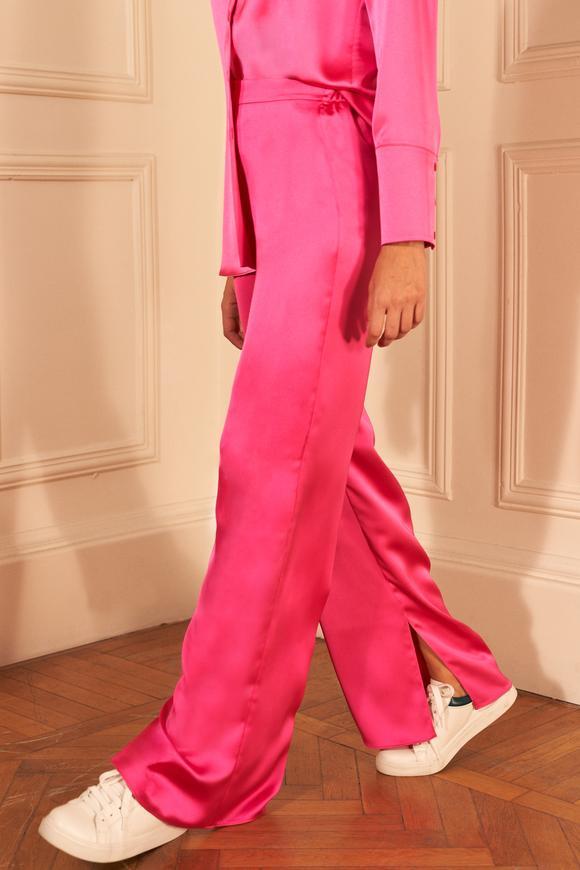 Pembe Paçası Yırtmaçlı Saten Pijama Pantolon