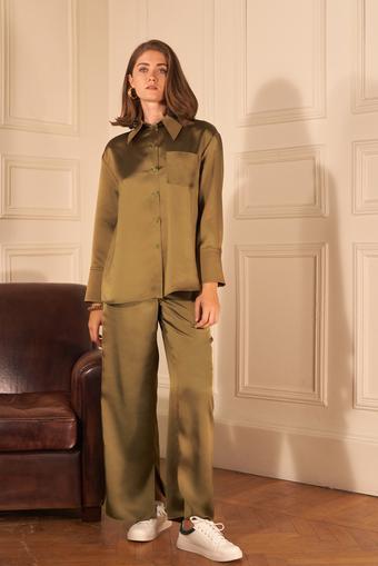 Yeşil Paçası Yırtmaçlı Saten Pijama Pantolon