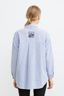 Düğmeli Nakışlı Çizgili Gömlek
