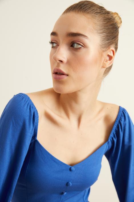 Mavi Örme Uzun Kollu Bluz