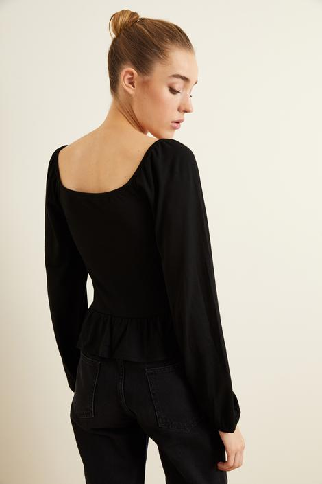 Siyah Örme Uzun Kollu Bluz