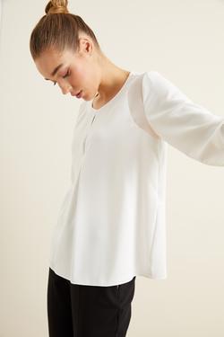 Omuz Şifon Detaylı Bluz